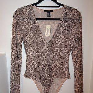 Nude/Black Long-Sleeve Bodysuit with Design